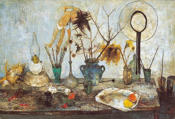 ランプ、壊れた人形と麦わら帽子のある静物〈現在展示中〉